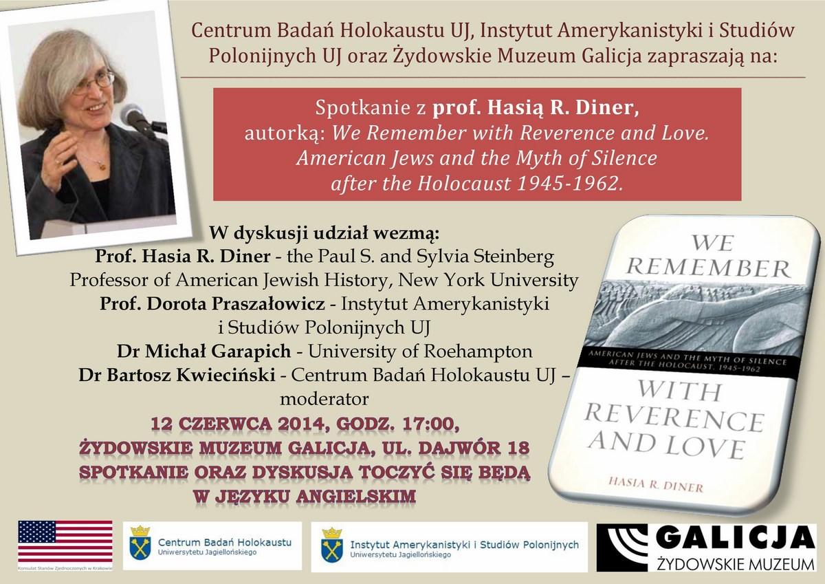 Hasia Diner, spotkanie, Żydowskie Muzeum Galicja w Krakowie, plakat (źródło: materiały prasowe organizatora)
