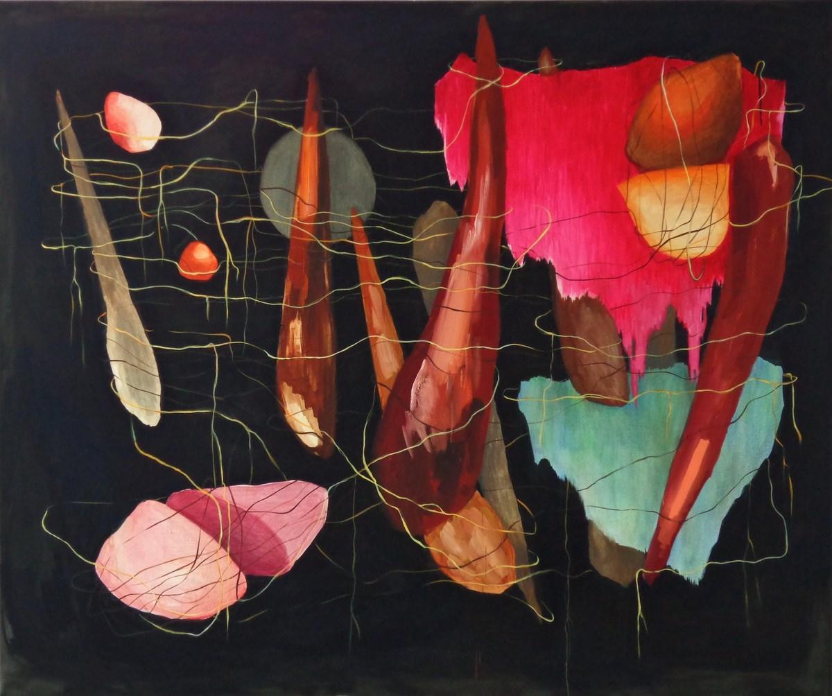 """Irmina Staś, """"Organizm 61"""", olej na płótnie, 150 x 180 cm, 2014 (źródło: materiały prasowe organizatora)"""