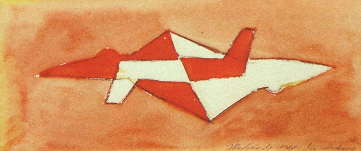 """Jarosław Modzelewski, """"Dwa odrzutowce"""", gwasz, papier, 11,5 x 26,5 cm, 1981, Kolekcja Galerii Zderzak, Kraków (źródło: materiały prasowe organizatora)"""