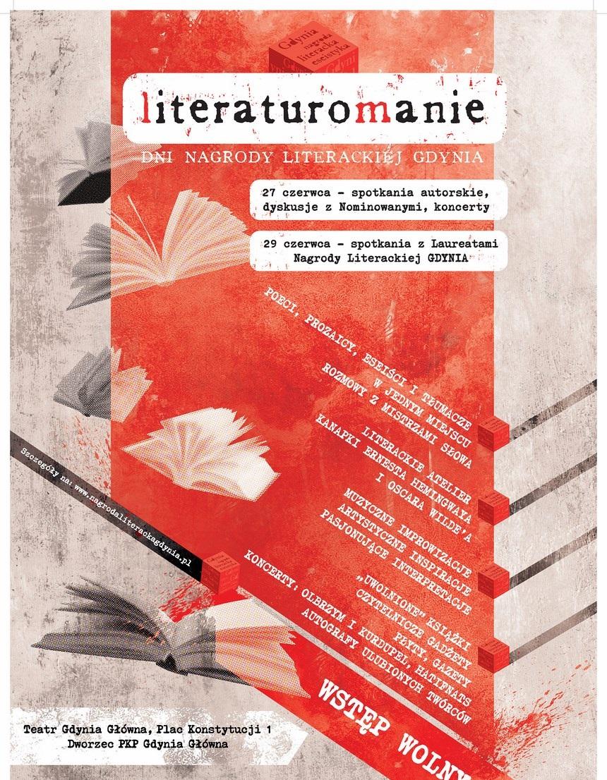 Literaturomanie, Dni Nagrody Literackiej Gdynia, plakat (źródło: materiały prasowe organizatora)