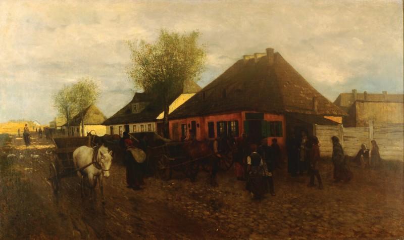"""Maksymilian Gierymski, """"Wiosna w małym miasteczku"""", 1872/1873, wł. Prywatna Państwa Marii i Pawła Dąmbskich (źródło: materiały prasowe organizatora)"""