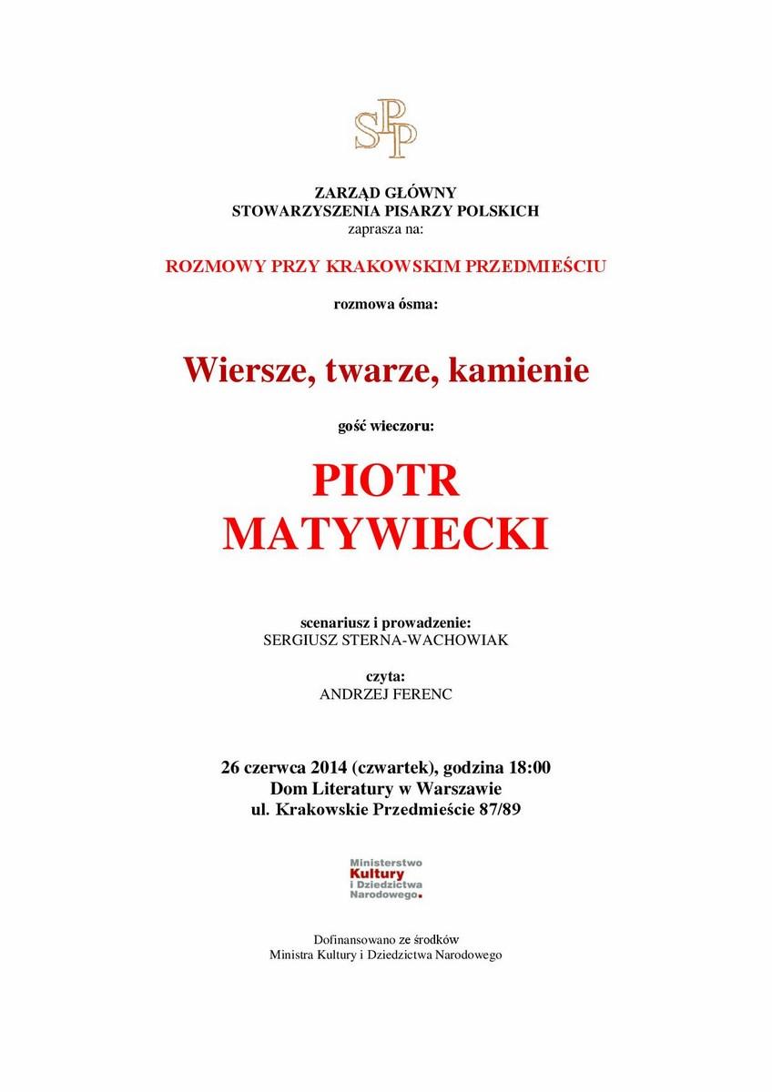 Zaproszenie na spotkanie poświęcone Piotrowi Matywieckiemu, Dom Literatury w Warszawie (źródło: materiały prasowe organizatora)