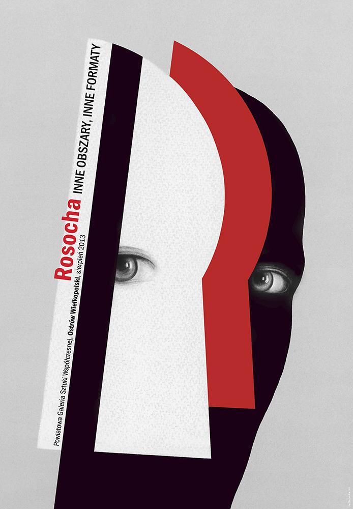 """Plakat do wystawy """"Rosocha. Inne obszary inne formaty"""", autor: Wiesław Rosocha (źródło: materiały prasowe organizatora)"""