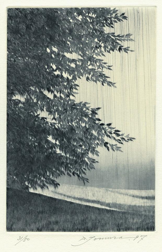 "Shigeki Tomura, ""Nature. In Summer II"", 1997, sucha igła, 14,4 x 9,5 cm (źródło: materiały prasowe organizatora)"