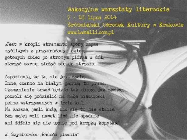 Wakacyjne warsztaty literackie, Śródmiejski Ośrodek Kultury w Krakowie, zaproszenie (źródło: materiały prasowe organizatora)