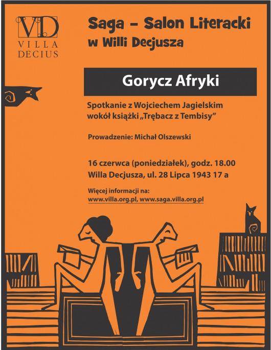 """Wojciech Jagielski, """"Gorycz Afryki"""", Salon Literacki, Willa Decjusza w Krakowie, plakat (źródlo: materiały prasowe organizatora)"""