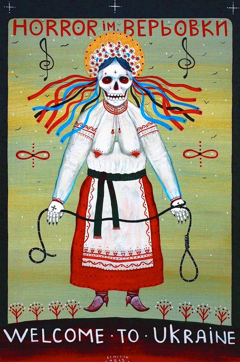 "Ivan Semesyuk, ""Horror imienia Veriovki"", 2013, akryl / płótno, 90 × 60 cm (źródło: materiały prasowe organizatora)"
