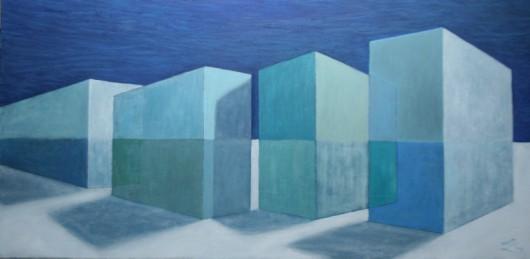 """Lidia Zarzeczna Szkwerko, """"Bloki blue"""", 100x50, 2013 (źródło: materiały prasowe organizatora)"""