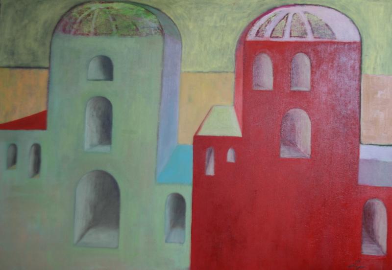 """Lidia Zarzeczna Szkwerko, """"Dwie katedry"""", 100x70, 2013 (źródło: materiały prasowe organizatora)"""