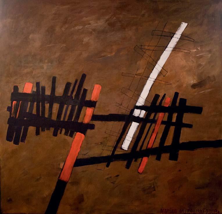 """Marian Murawski """"Szczeblaty jeździec"""", akryl, 200x180, 2008 (źródło: materiały prasowe organizatora)"""
