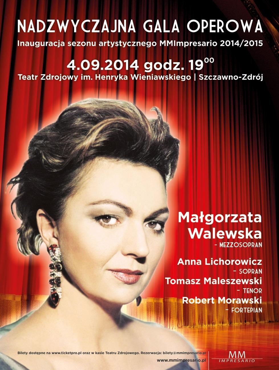Nadzwyczajna Gala Operowa, Małgorzata Walewska, plakat (źródło: materiały prasowe organizatora)