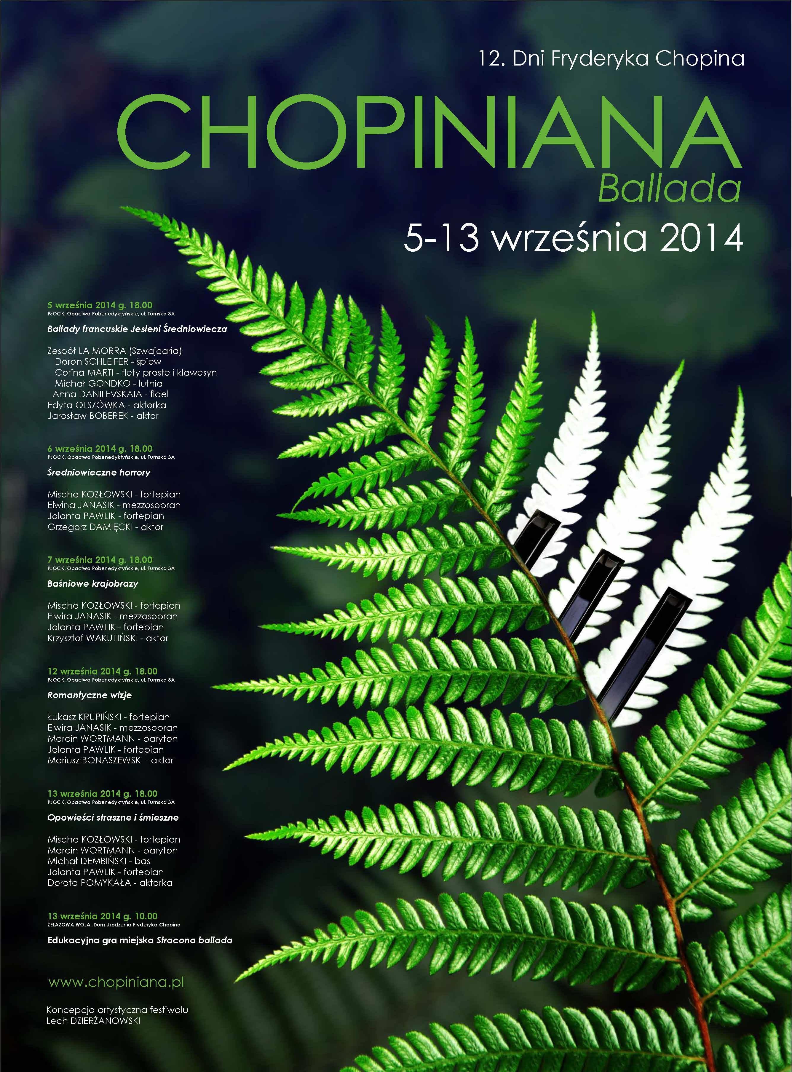 """Plakat 12 dni Fryderyka Chopina """"Chopiniana"""", (źródło: materiały prasowe organizatora)"""