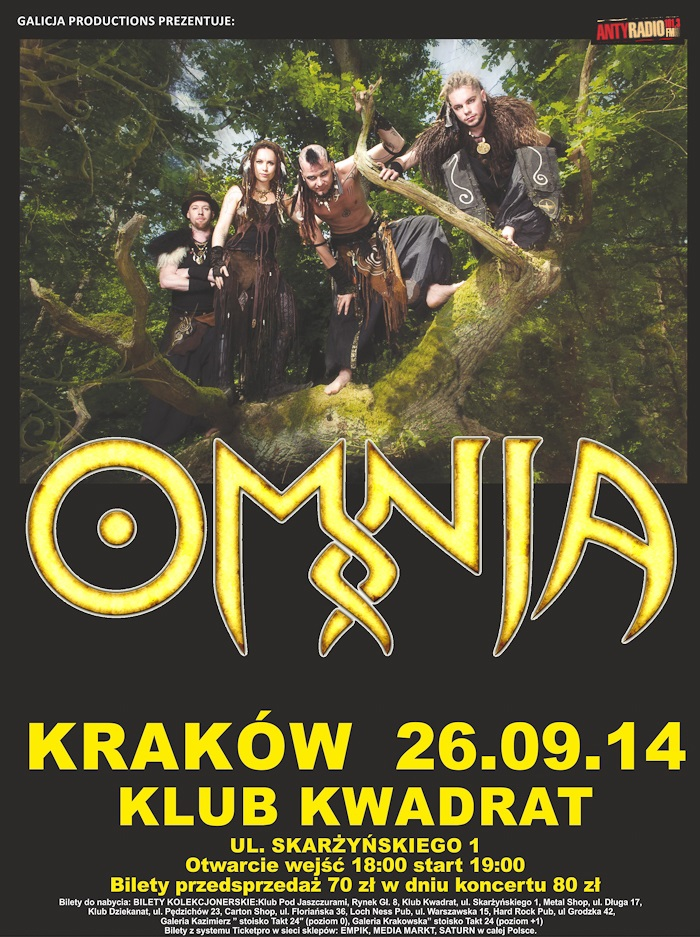 Plakat koncertu zespołu Omnia, (źródło: materiały prasowe organizatora)