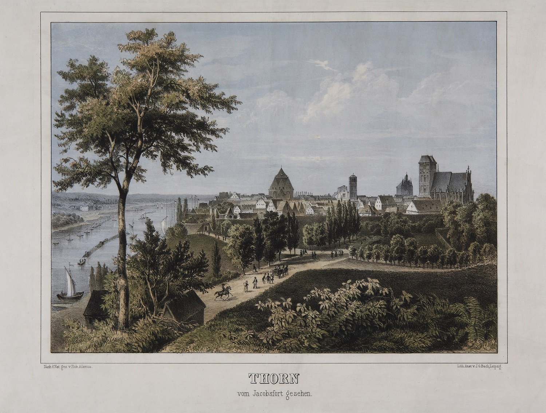 Widok Torunia od wschodu, pocztówka, ok. 1860 r., (źródło: materiały prasowe organizatora)