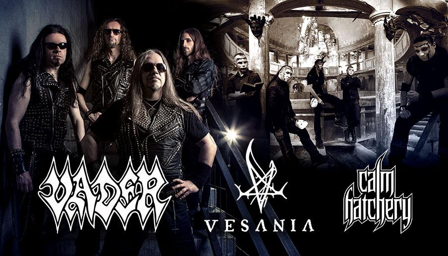 Plakat koncertu Vadera, Vesani i Calm Hatchery w Klubie Stodoła, (źródło: materiał prasowe organizatora)