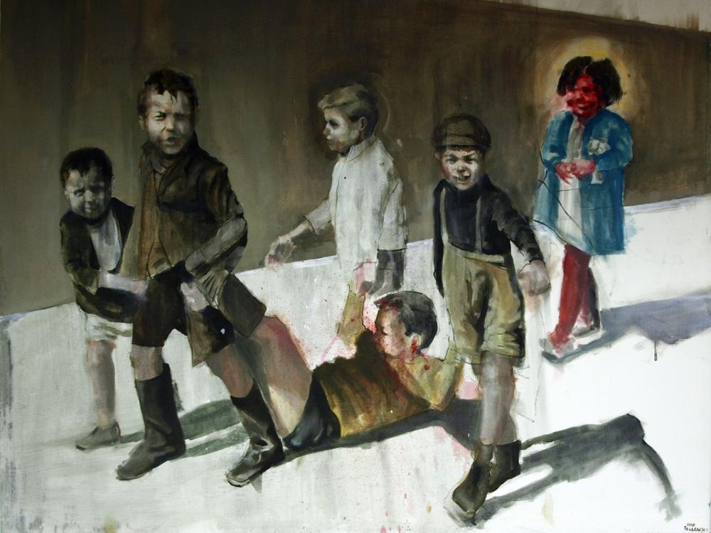 """Adam Pawłowski, """"Czterech sprawiedliwych i dziewczyna"""", 120x90, olej, akryl (źródło: materiały prasowe organizatora)"""
