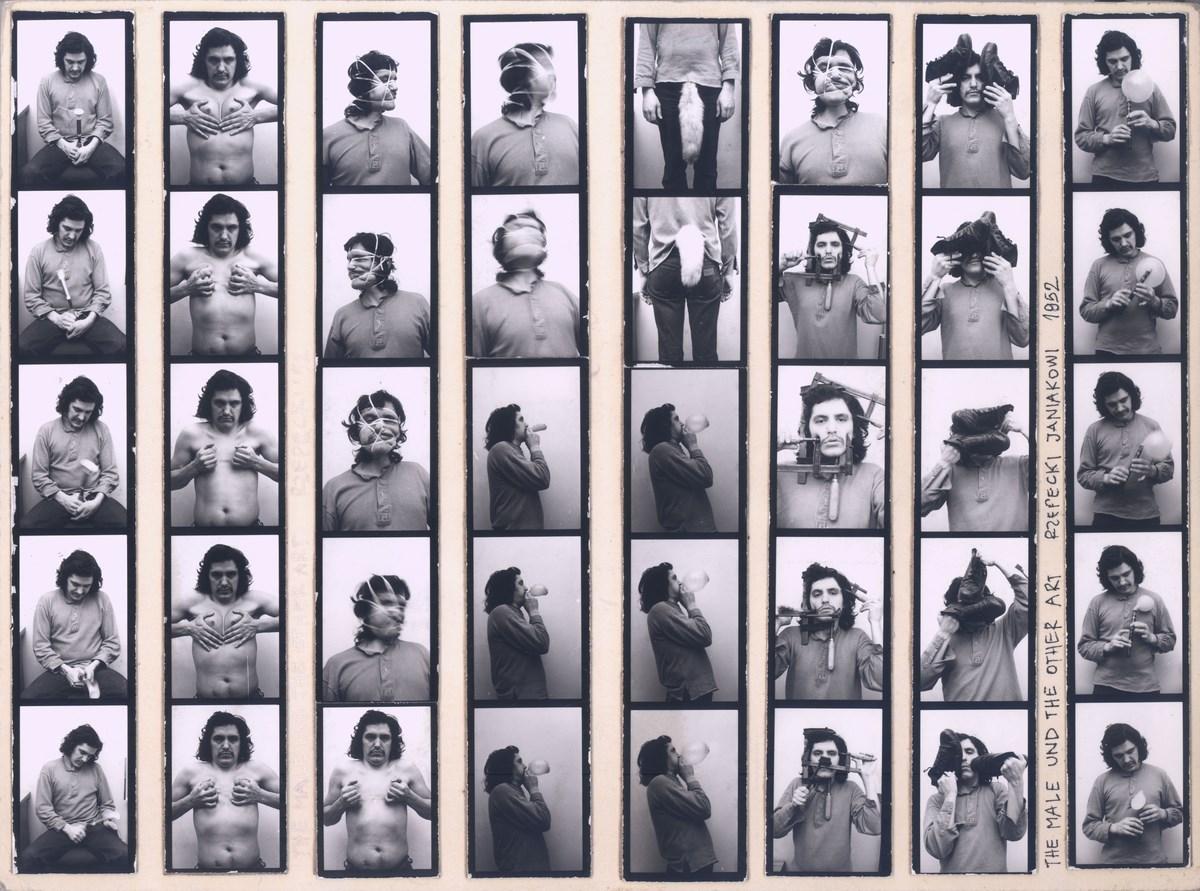 """Adam Rzepecki, """"Sztuka męska i inna"""", z cyklu """"Performance dla fotografii"""", 1980, fotografia, dzięki uprzejmości Galeria Dawid Radziszewski, Warszawa (źródło: materiały prasowe organizatora)"""