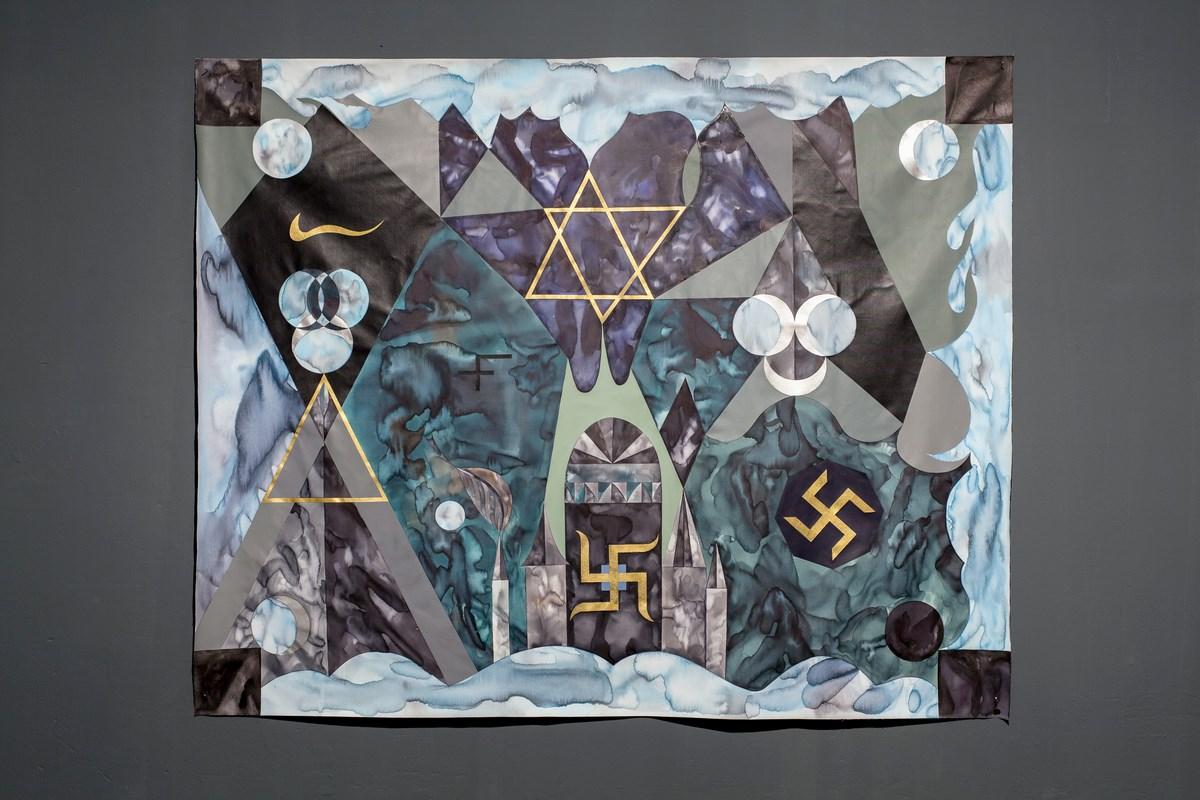 """Anežka Hošková, """"Analog Witch I"""", akryl i akwarela na płótnie, 190 x 150 cm, 2014 (źródło: materiały prasowe organizatora)"""
