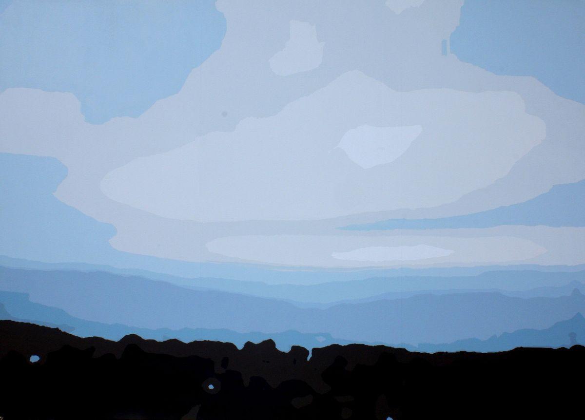 """Artur Trojanowski, """"Wieczór w Lanckoronie"""", 2014, 140 x 195 cm, akryl, płótno (źródło: materiały prasowe organizatora)"""