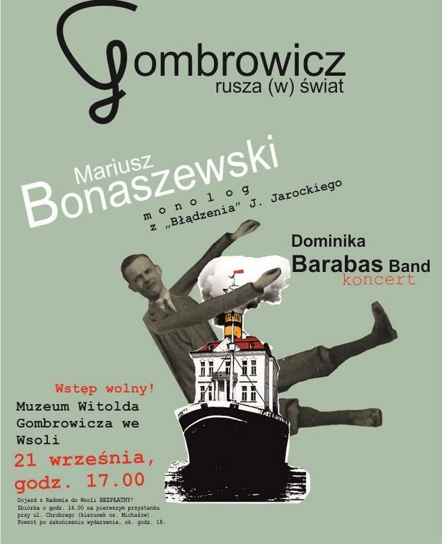"""""""Gombrowicz rusza (w) świat"""", plakat, Muzeum Witolda Gombrowicza we Wsoli (źródło: materiały prasowe organizatora)"""