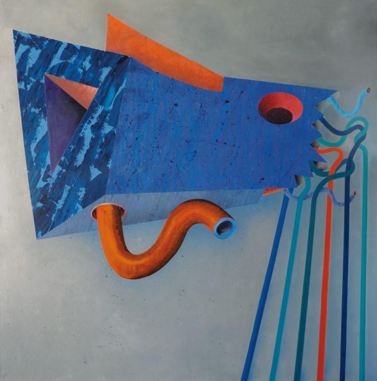 """Igor Wójcik, """"Mechabiotyl 115"""", akryl, olej, technika własna na płótnie, 150x150 cm, 2010 (źródło: materiały prasowe organizatora)"""