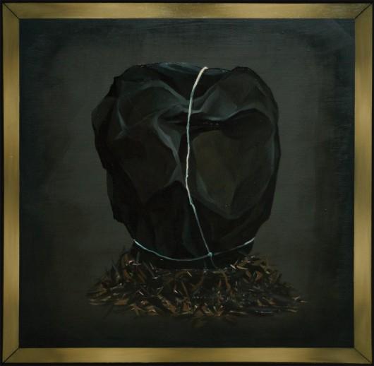 """Joanna Mlącka, """"Tryptyk (fragment)"""",3 x 120 x 120 cm, olej na płótnie, 2014 (źródło: materiały prasowe organizatora)"""