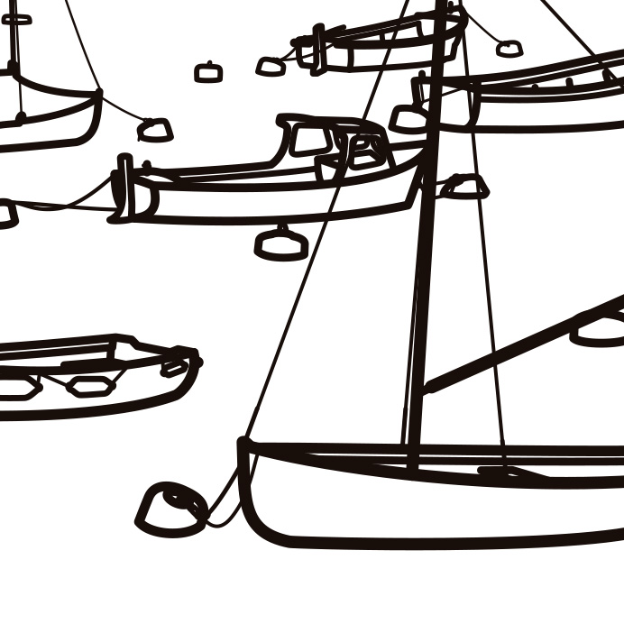 """Julian Opie, """"Łódki"""", winyl na ścianie, unikat, dzięki uprzejmości artysty (źródło: materiały prasowe organizatora)"""