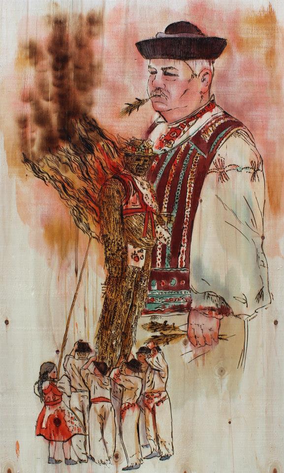 "Mitríková & Demjanovič, ""Ognie św. Antonna"", 125 x 78 cm, pirografia na drewnie, 2014 (źródło: materiały prasowe organizatora)"