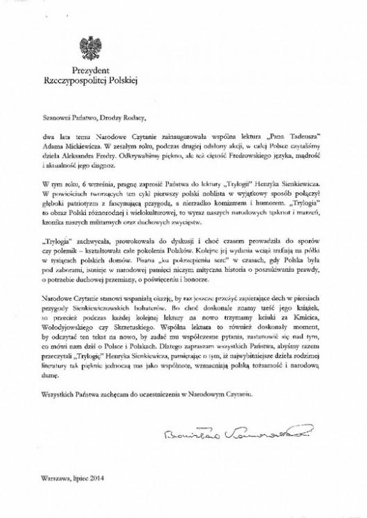 List prezydenta RP Bronisława Komorowskiego, dotyczący Narodowego Czytania Sienkiewicza (źródło: materiały prasowe)