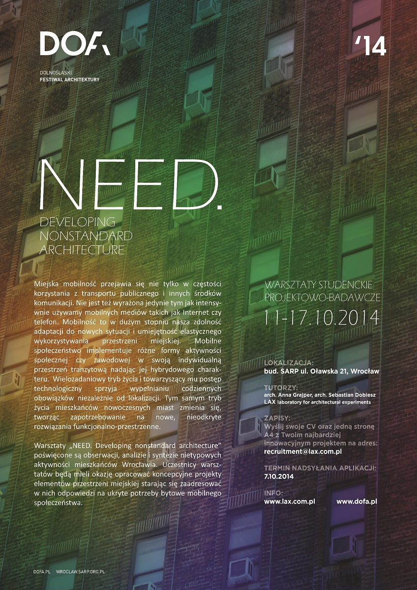 "Plakat warsztatów ""Need. Developing nonstandard architecture"", (źródło: materiały prasowe organizatora)"