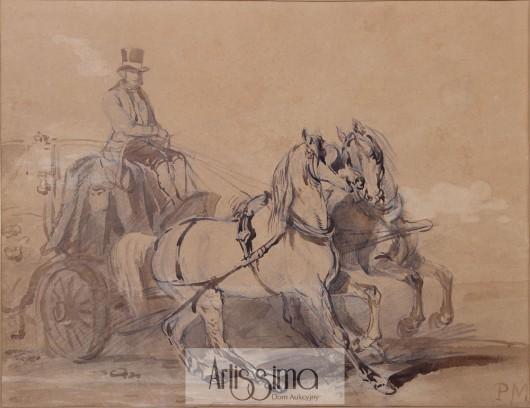 """Piotr Michałowski """"Dyliżans konny"""", 1845, ołówek, sepia, gwasz/papier, 36,5x47,5 cm (źródło: materiały prasowe)"""