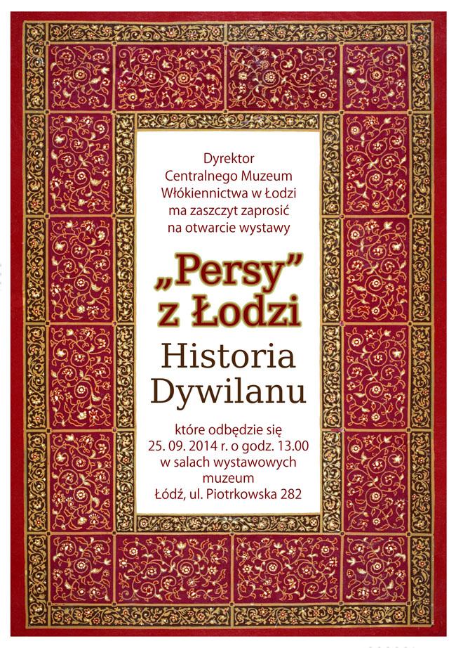 """Plakat wystawy """"«Persy» z Łodzi. Historia Dywilanu"""", (źródło: materiały prasowe organizatora)"""
