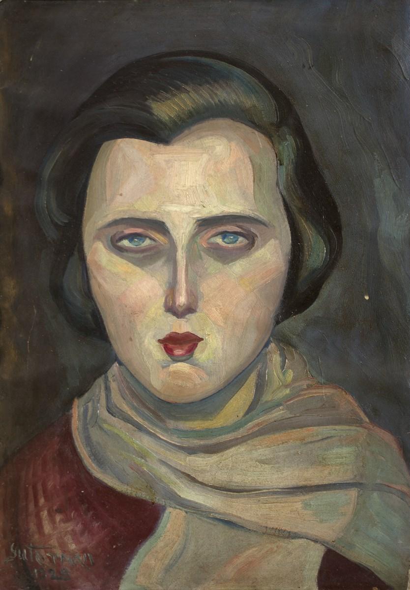 """Abraham Guterman, """"Portret dziewczyny"""", olej, tektura (źródło: materiały prasowe organizatora)"""