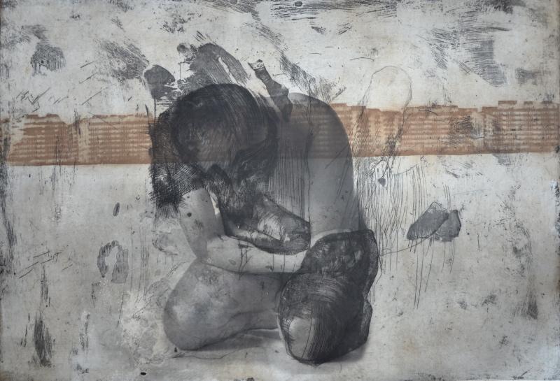 """Agata Żołądź, """"Nieprzysiadalność"""", ksero, akwaforta, 70x100 cm, 2014 (źródło: materiały prasowe organizatora)"""