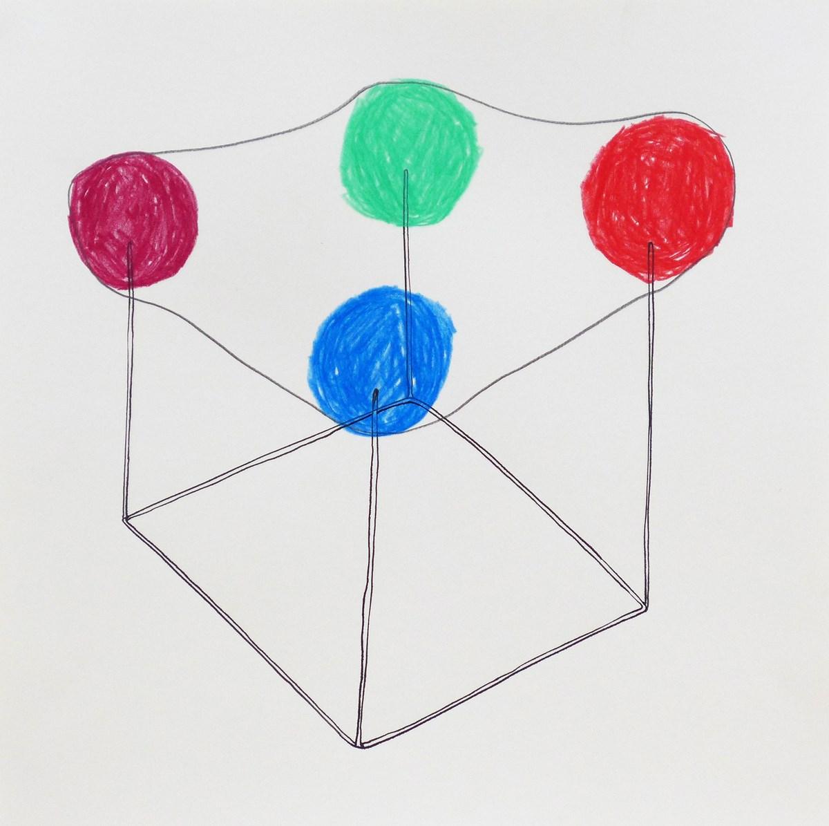 """Alicja Bielawska, z serii: """"Kształty podręczne / Handy Shapes"""", 2014, tusz, kredka, ołówek na papierze, 40 x 40 cm (źródło: materiały prasowe organizatora)"""