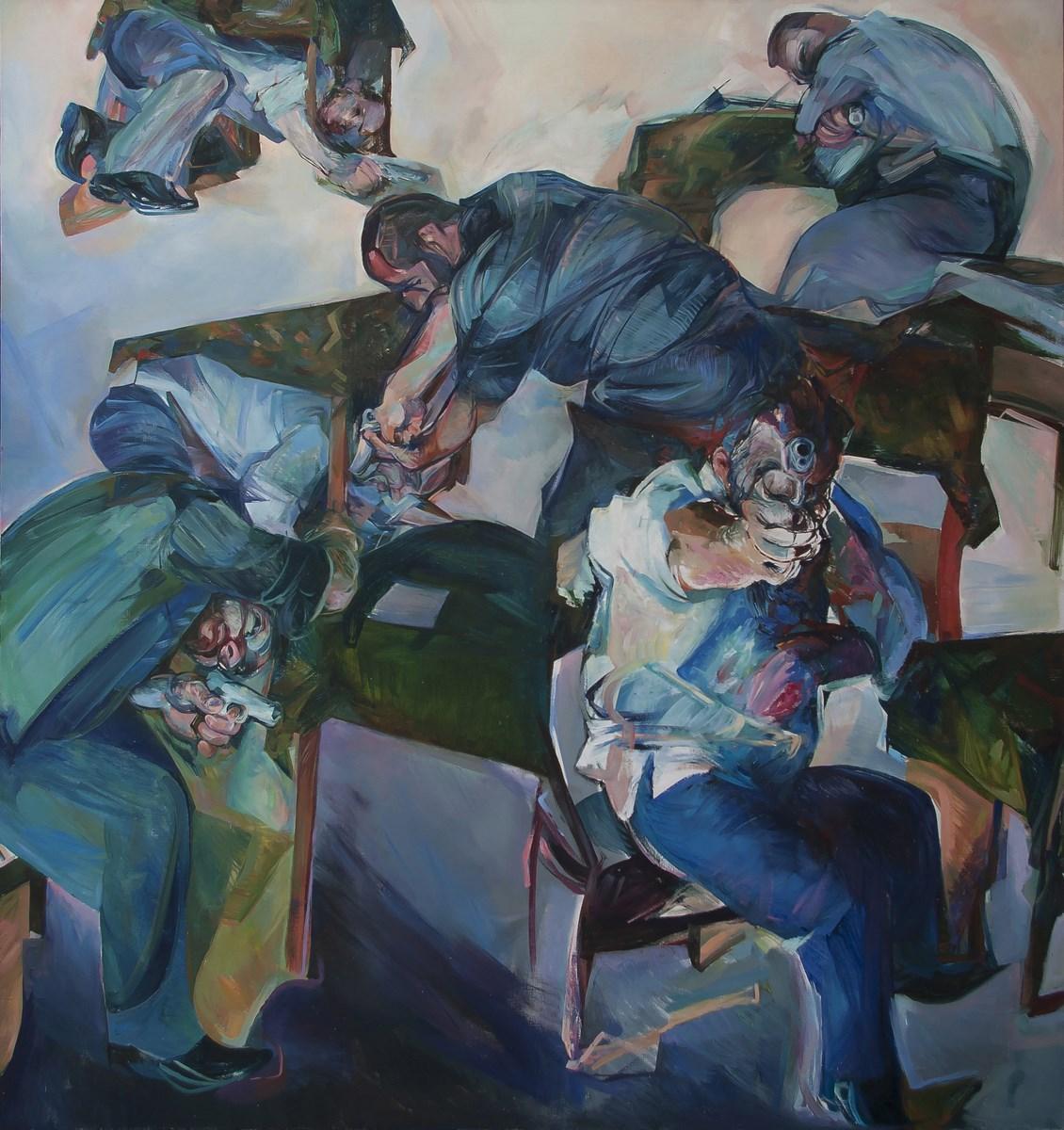 """Beata Bigaj, """"Prawy do lewego lub dobre stosunki"""", 180x190 cm, olej na płótnie, 2011 (źródło: materiały prasowe organizatora)"""