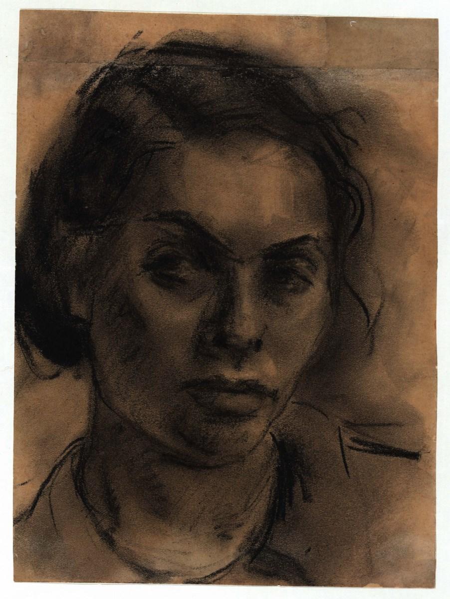 """Gela Seksztajn, """"Autoportret"""", węgiel, papier (źródło: materiały prasowe organizatora)"""