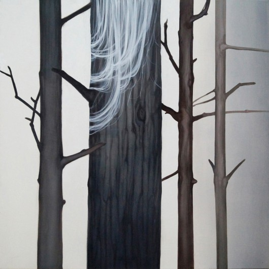 """Klaudia Ka, """"Gość"""", 100x100 cm, olej, płótno (źródło: materiały prasowe organizatora)"""