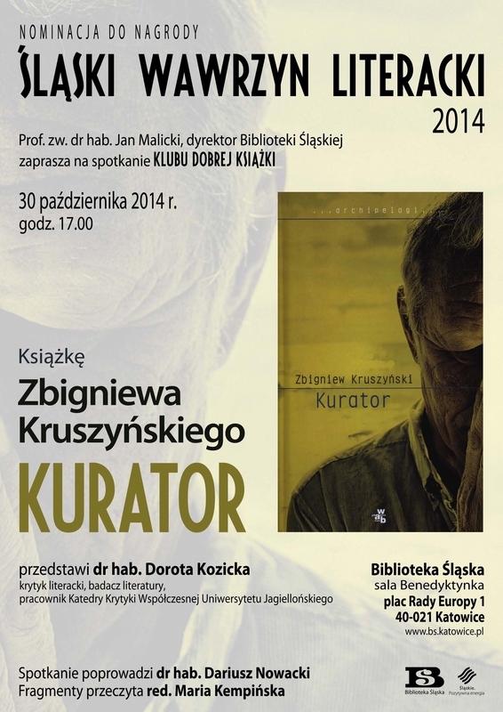 """Klub Dobrej Książki: Zbigniew Kruszyński """"Kurator"""" – plakat (źródło: materiały prasowe)"""