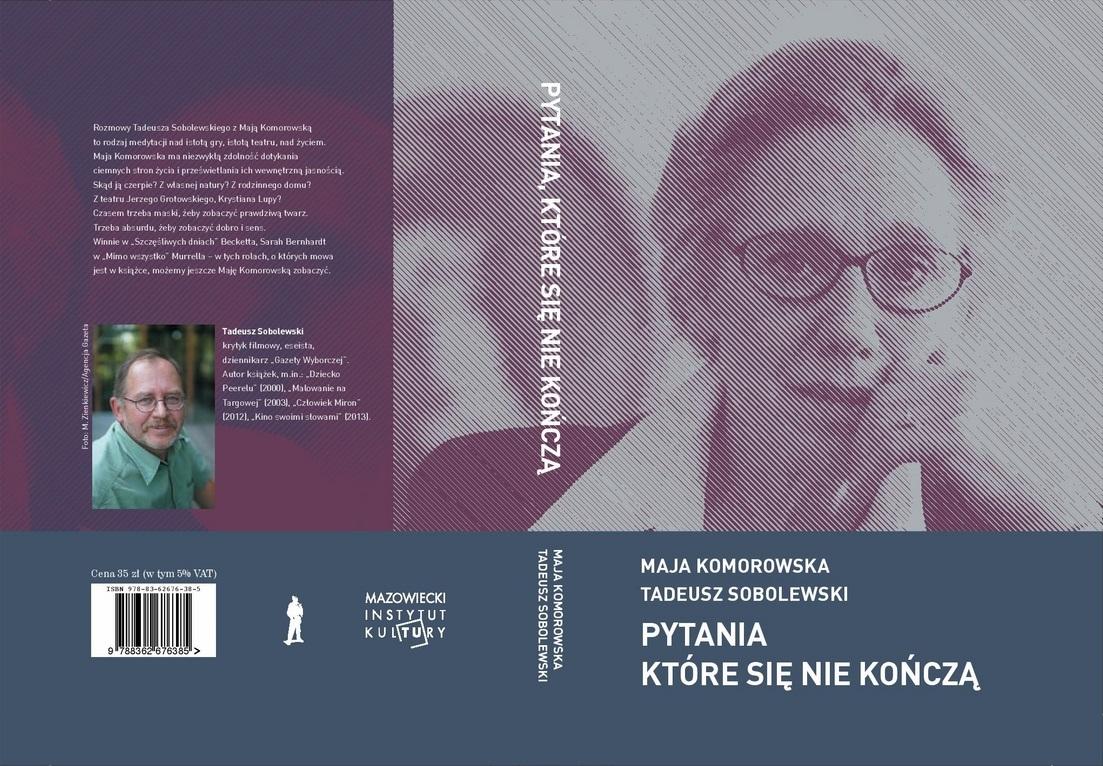 """Maja Komorowska, Tadeusz Sobolewski – """"Pytania, które się nie kończą"""", okładka (źródło: materiały prasowe)"""