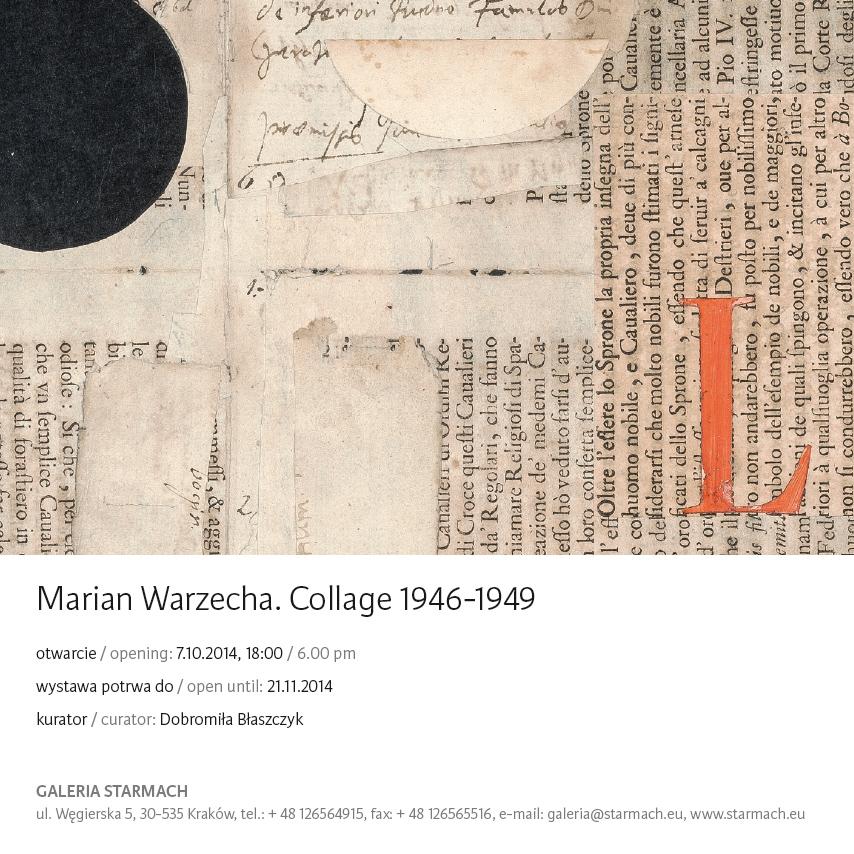 Zaproszenie na wystawę Mariana Warzechy, Galeria Starmach w Krakowie (źródło: materiały prasowe organizatora)