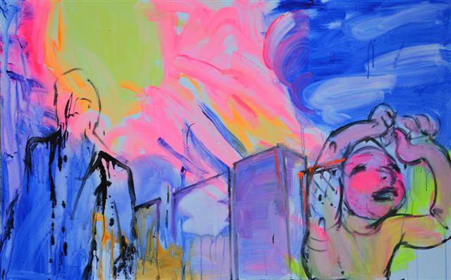 """XY ankamierzejewska, """"Niech się śmieje ufolud"""", 2014, technika własna na płótnie, 120x190 cm (źródło: materiały prasowe organizatora)"""