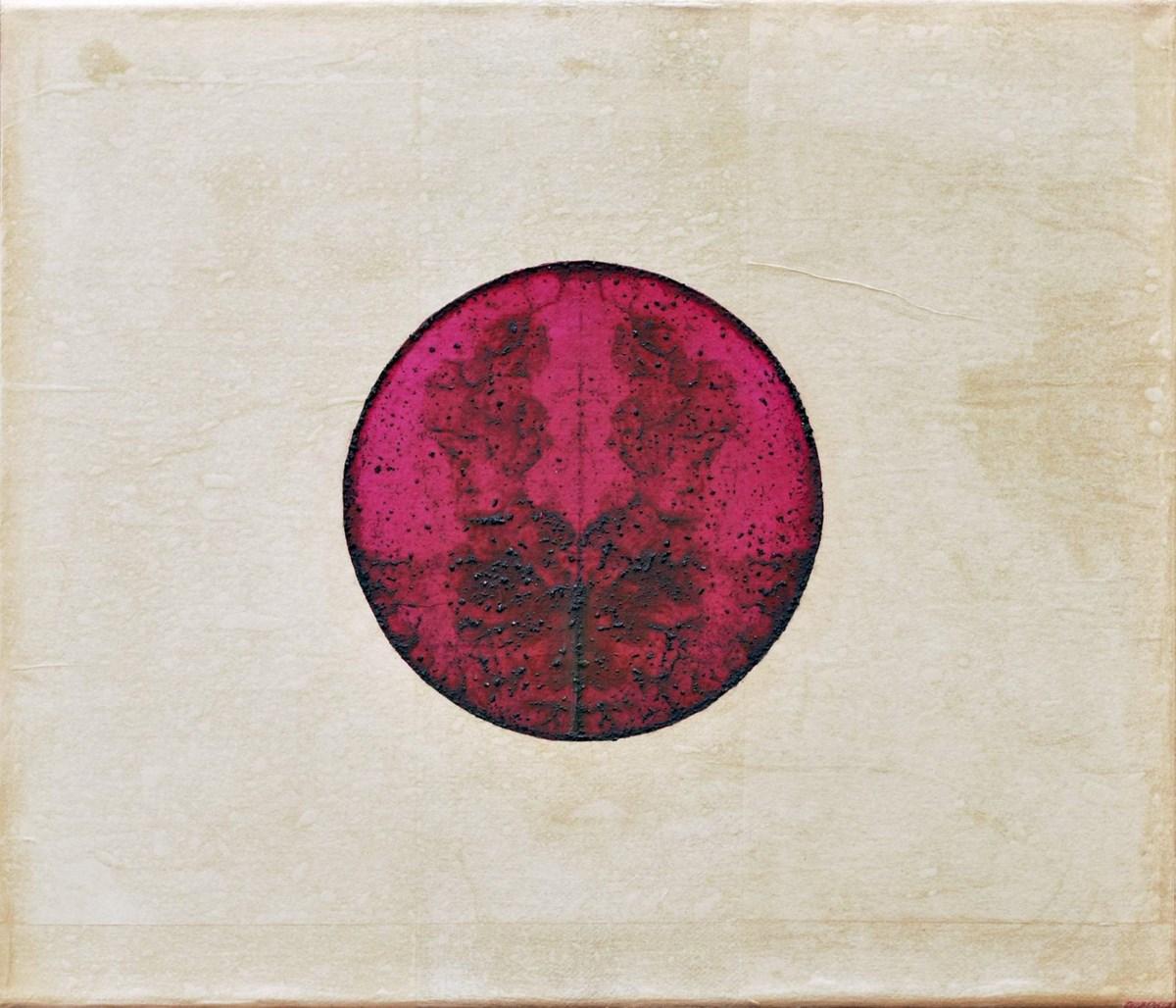 """Aga Piotrowska, """"01130613"""", fuksyna, bibuła japońska, płótno, 34x40, 2013 (źródło: materiały prasowe organizatora)"""