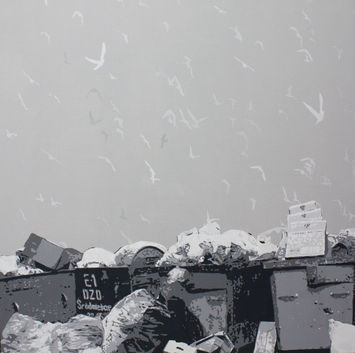 """Artur Trojanowski, """"Duchy"""", akryl na płótnie, 195x195 cm (źródło: materiały prasowe organizatora)"""