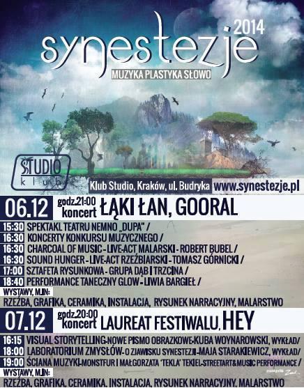 Festiwal Synestezje. Muzyka Plastyka Słowo – plakat (źródło: materiały prasowe organizatora)