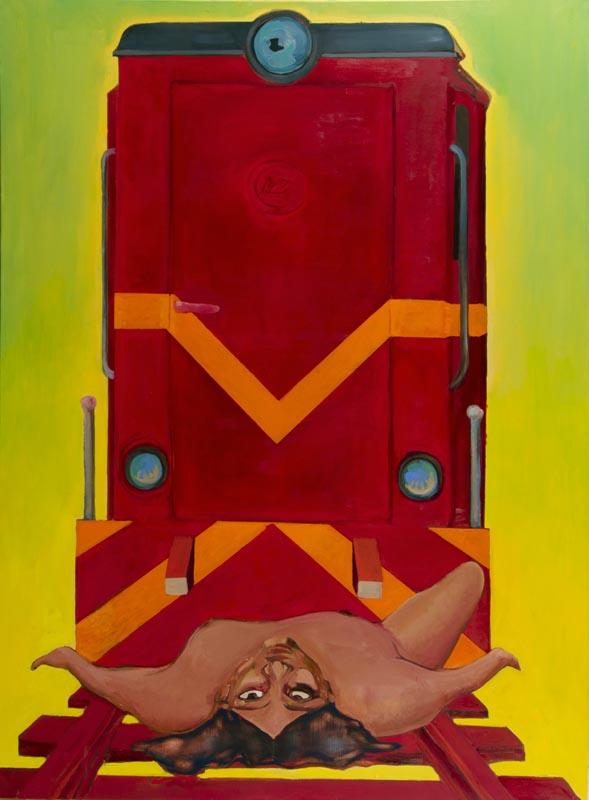 """Jacek Sroka, """"Leda wąskotorowa"""", 2011, olej na płótnie, wł. artysty (źródło: materiały prasowe organizatora)"""