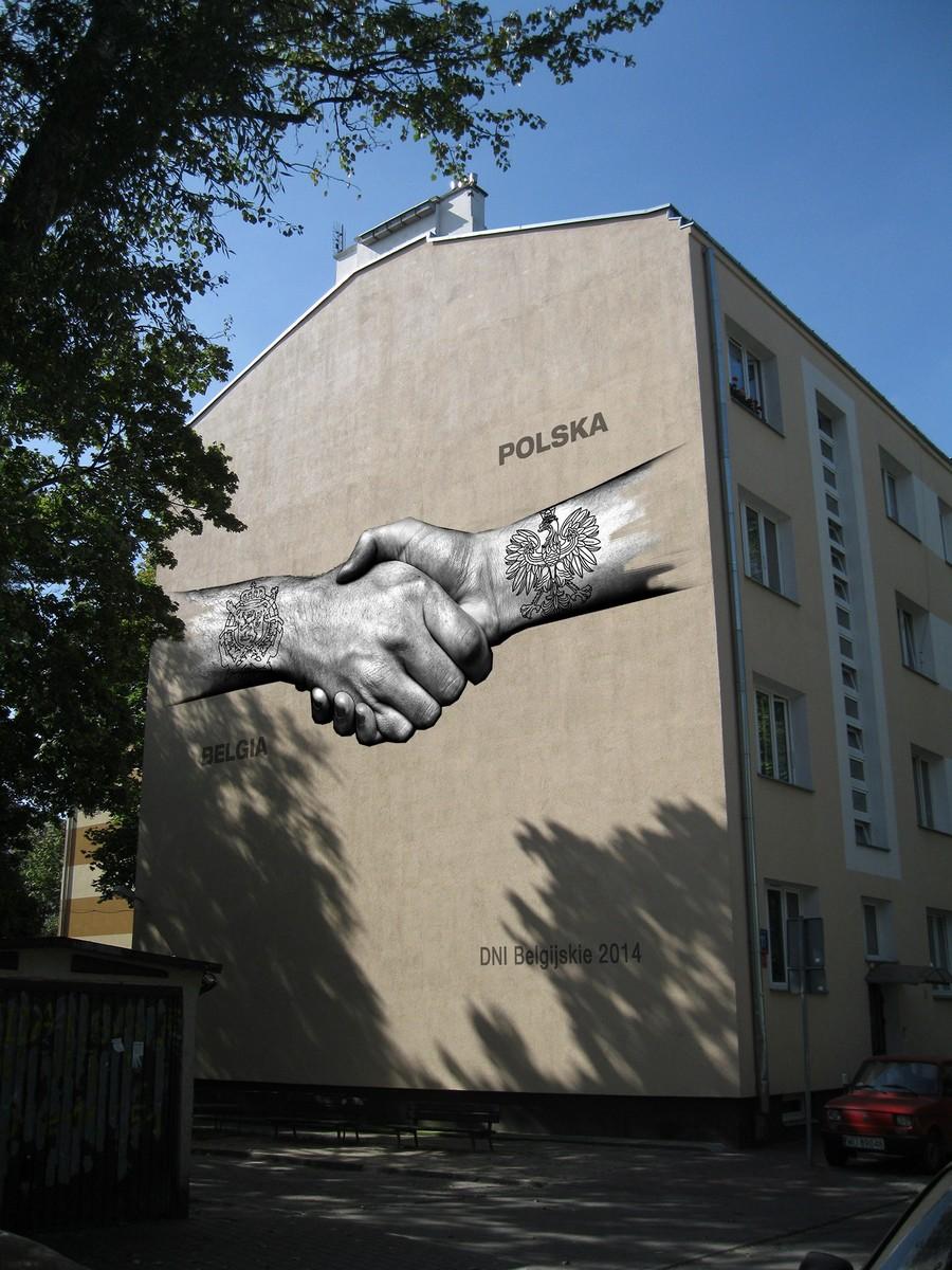 Belgijski mural przy ulicy Dunajeckiej 11 w Warszawie (źródło: materiały prasowe)