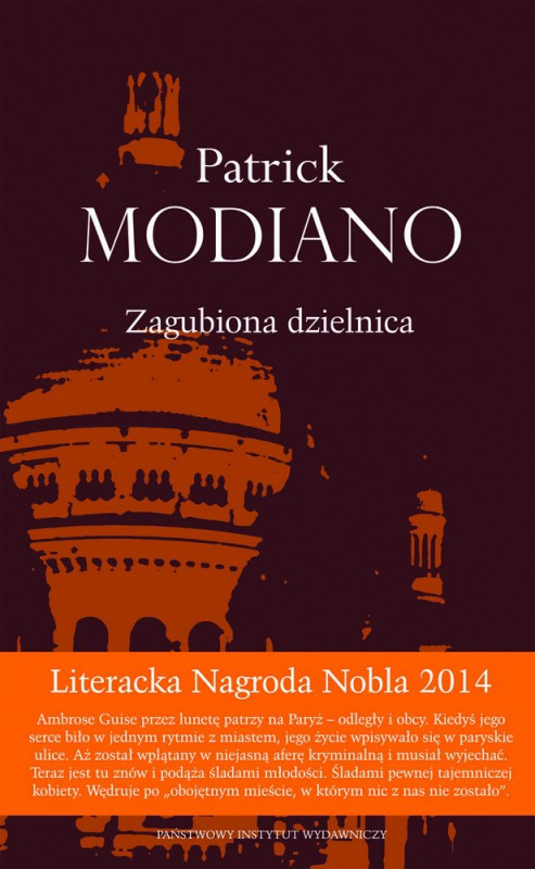 """Patrick Modiano – """"Zagubiona dzielnica"""", okładka (źródło: materiały prasowe wydawnictwa)"""