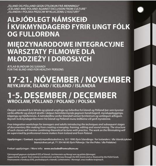 """""""Islandia i Polska przeciw wykluczeniu z kultury"""" – plakat (źródło: materiały prasowe organizatora)"""