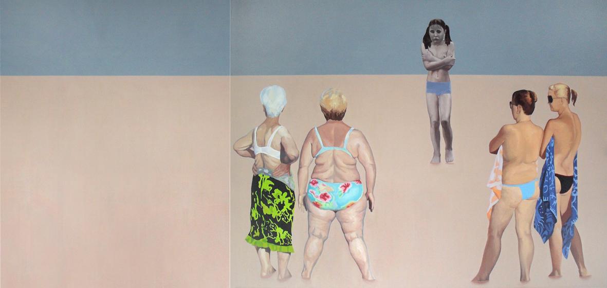 """Julita Malinowska, """"Oczekiwanie"""", 2011, olej na płótnie, dyptyk, łącznie 150x300 cm (źródło: materiały prasowe organizatora)"""